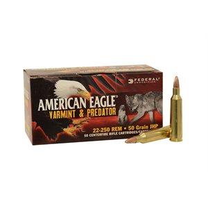 FEDERAL AMERICAN EAGLE 22-250 REM 50 GRAIN JHP VARMINT& PRED