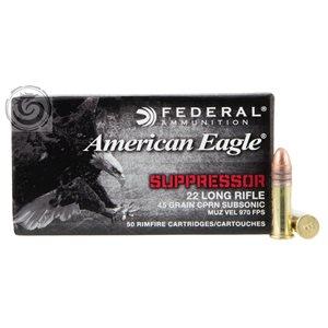 AMERICAN EAGLE SUPPRESSOR 22 LONG RIFLE 45 GRAIN SUBSONIC 97