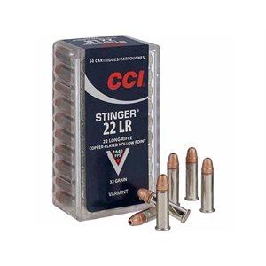 CCI STINGER 22 LONG RIFLE COPPER HOLLOW POINT 32 GR VARMINT