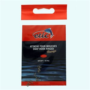ÉTIC ATTACHE POUR MOUCHES SNAP HOOK RINGED BRONZE #3 10PCS